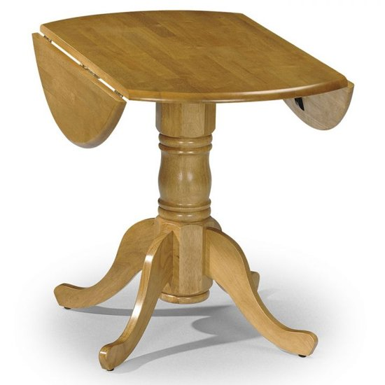 Dundee Drop-leaf Round Dining Table In Lacquered Honey