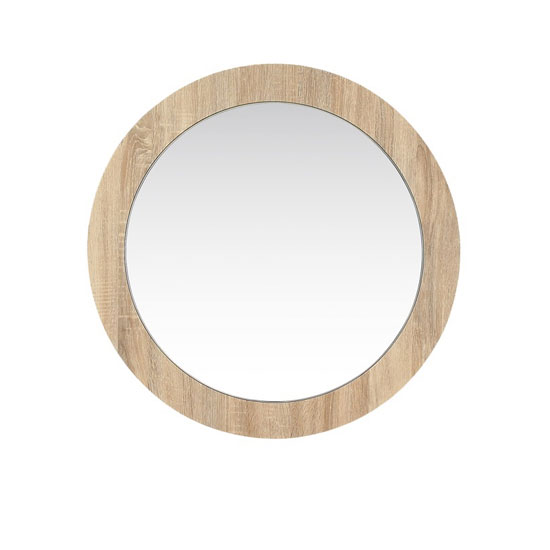 Dunic Round Wall Bedroom Mirror In Sonoma Oak Frame