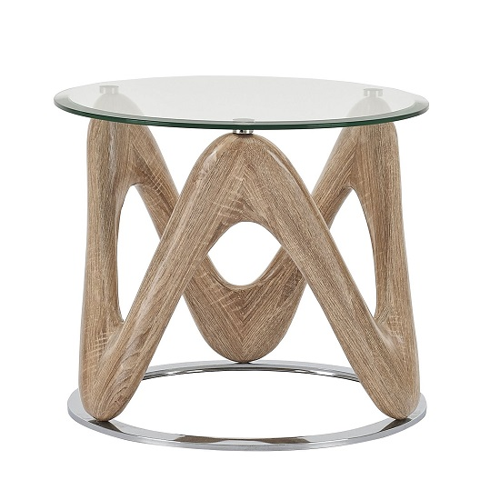 Dunic Glass Lamp Table Round In Sonoma Oak And Chrome_2