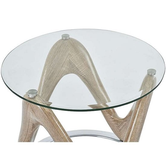 Dunic Glass Lamp Table Round In Sonoma Oak And Chrome_4