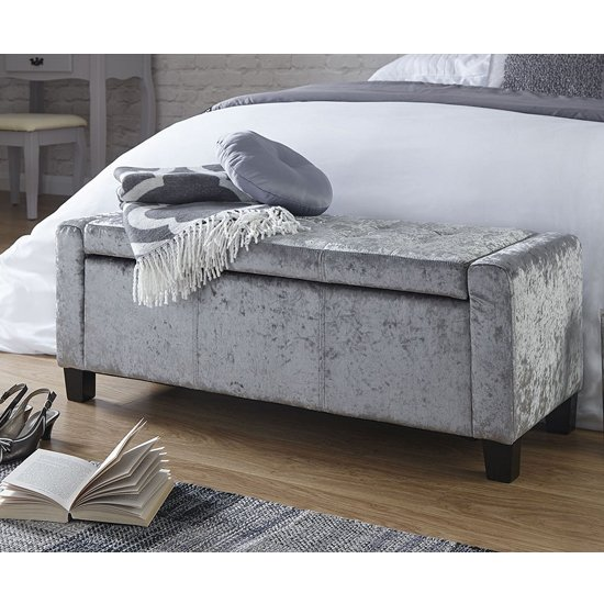 Dunston Crushed Velvet Ottoman Storage Blanket Box In Grey