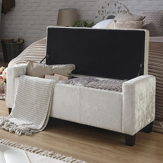 Dunston Crushed Velvet Ottoman Storage Blanket Box In Oyster_2