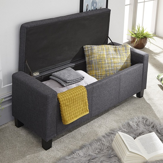 Dunston Fabric Ottoman Storage Blanket Box In Charcoal_2