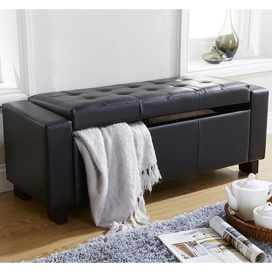 Dunston Faux Leather Ottoman Storage Blanket Box In Black_2