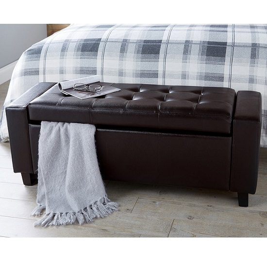 Dunston Faux Leather Ottoman Storage Blanket Box In Brown_2