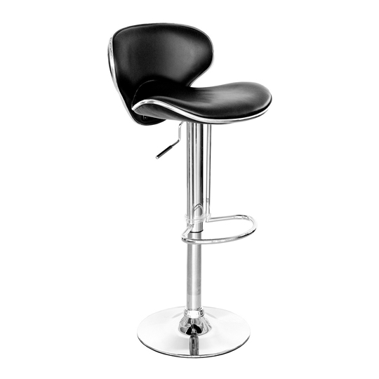 Duo Retro Black Faux Leather Bar Stool With Chrome Base