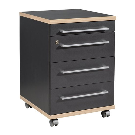 Duo Rolling Container With Drawers In Anthracite