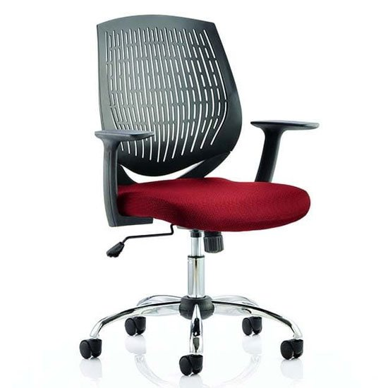 Dura Black Back Office Chair With Ginseng Chilli Seat