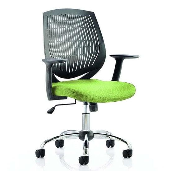 View Dura black back office chair with myrrh green seat