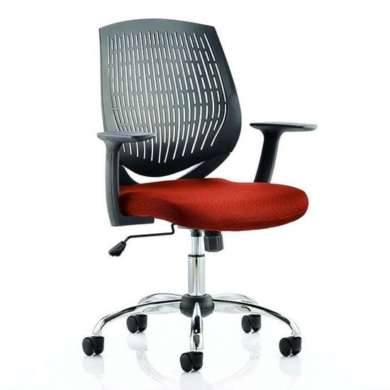 Dura Black Back Office Chair With Tabasco Red Seat