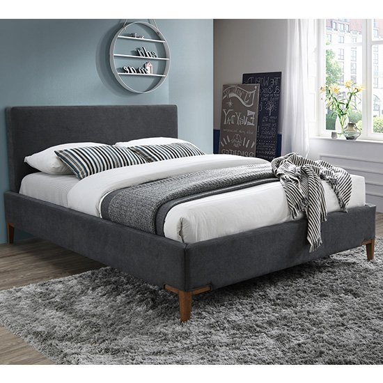 Durban Fabric King Size Bed In Dark Grey With Oak Legs