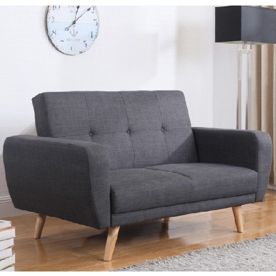 Durham Fabric Sofa Bed In Grey With Wooden Legs_1