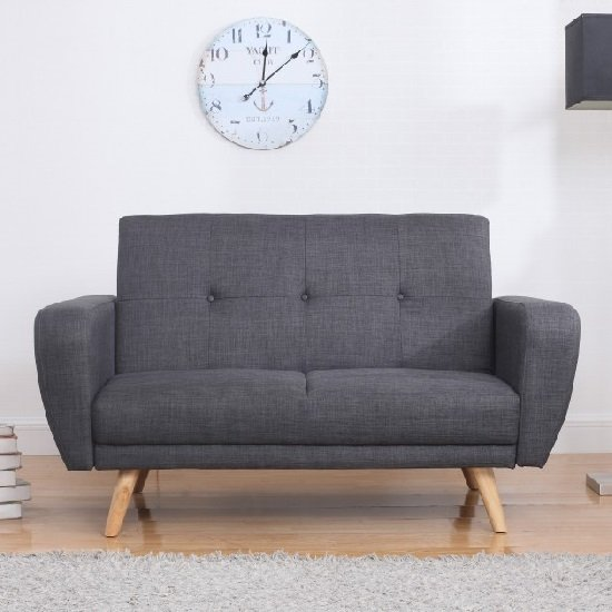 Durham Fabric Sofa Bed In Grey With Wooden Legs_2