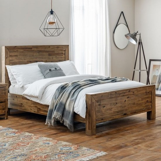 Durket Wooden Solid Acacia Bed In Rustic Oak Finish_1