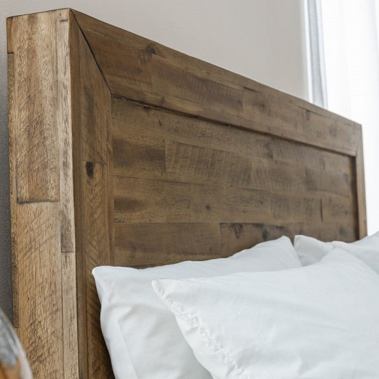Durket Wooden Solid Acacia Bed In Rustic Oak Finish_6