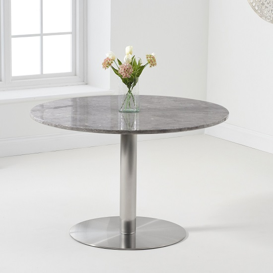 Dutra Round Marble Table In Grey Gloss With Metal Base_1
