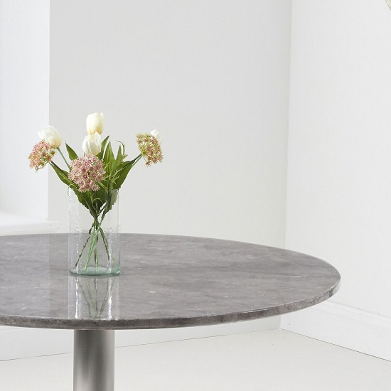 Dutra Round Marble Table In Grey Gloss With Metal Base_3