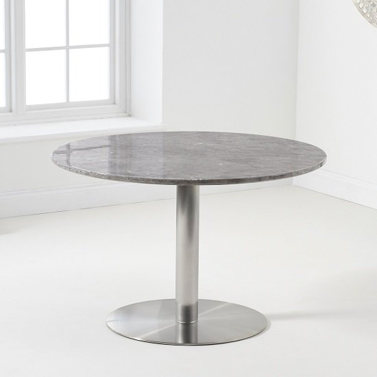 Dutra Round Marble Table In Grey Gloss With Metal Base_2