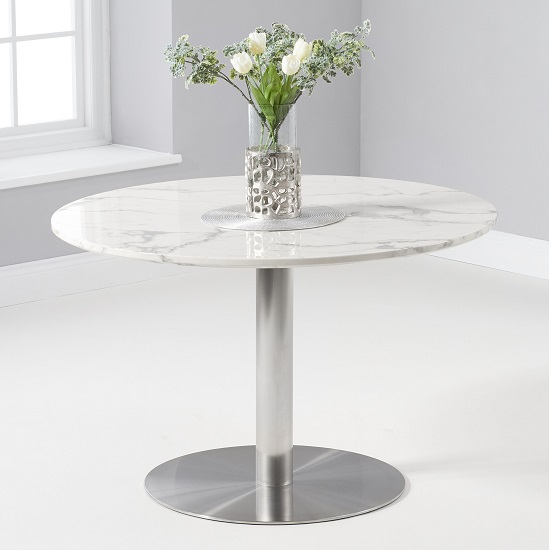 View Dutren round marble table in white gloss with metal base