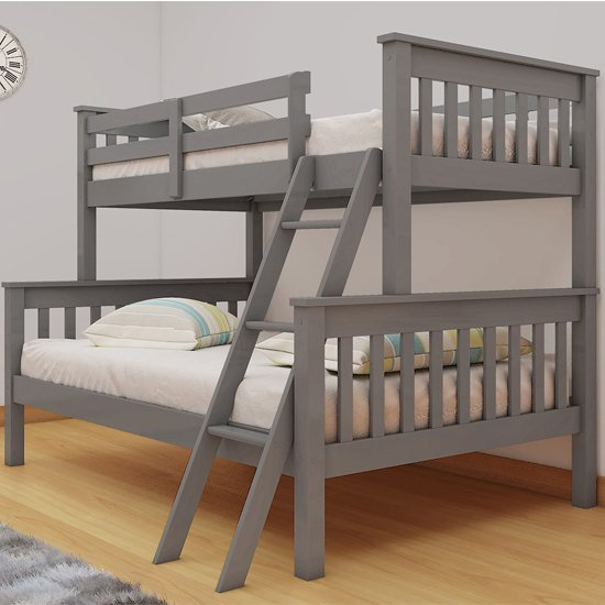 Dux Wooden Single And Double Bunk Bed In Grey_1