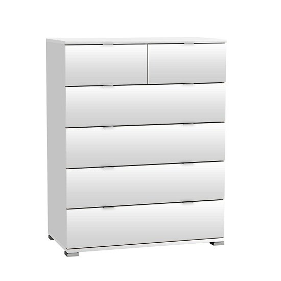 Dylan Wooden Chest Of Drawers In Pearl White And Linen