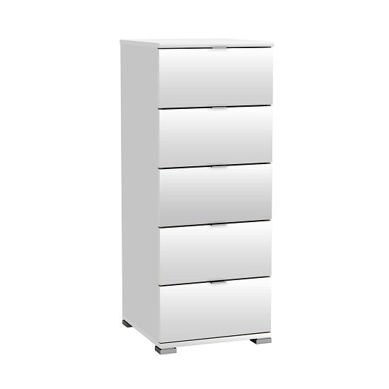 Dylan Wooden Tall Chest Of Drawers In Pearl White