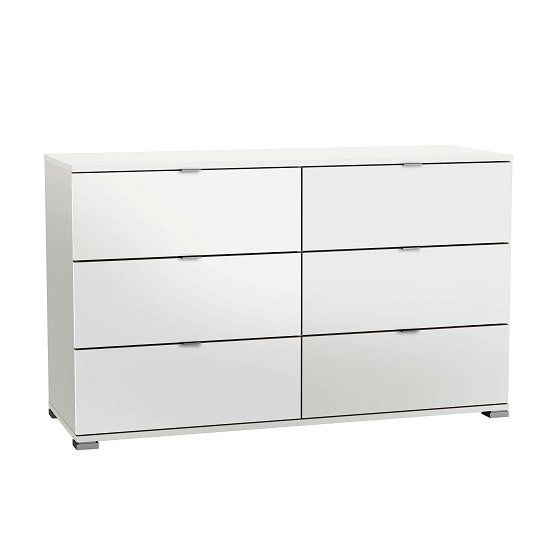 Dylan Wooden Wide Chest Of Drawers In Pearl White And Linen