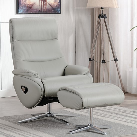 Earl Leather Match Swivel Recliner Chair And Footstool In Grey
