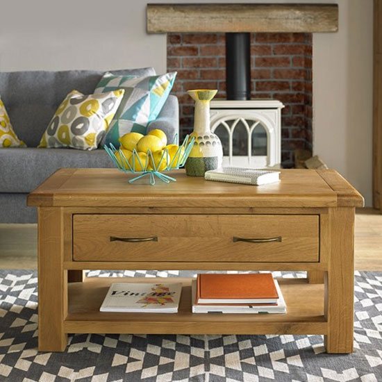 Earls Wooden Coffee Table In Chunky Solid Oak With 1 Drawer