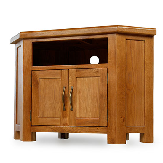 Earls Wooden Corner TV Unit In Chunky Solid Oak With 2 Doors_2
