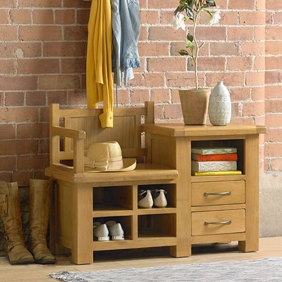 View Earls wooden hallway bench with shoe storage in chunky solid oak