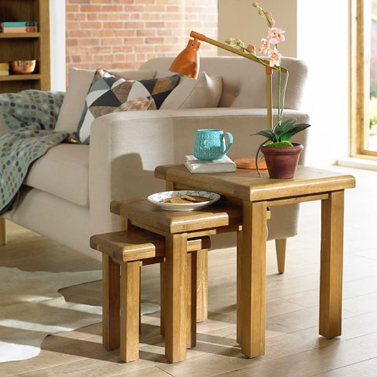 Earls Wooden Set Of 3 Nesting Tables In Chunky Solid Oak