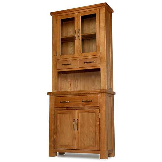 Earls Wooden Small Display Cabinet In Chunky Solid Oak