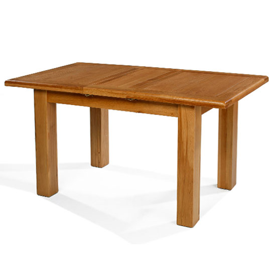 Earls Wooden Small Extending Dining Table In Chunky Solid Oak