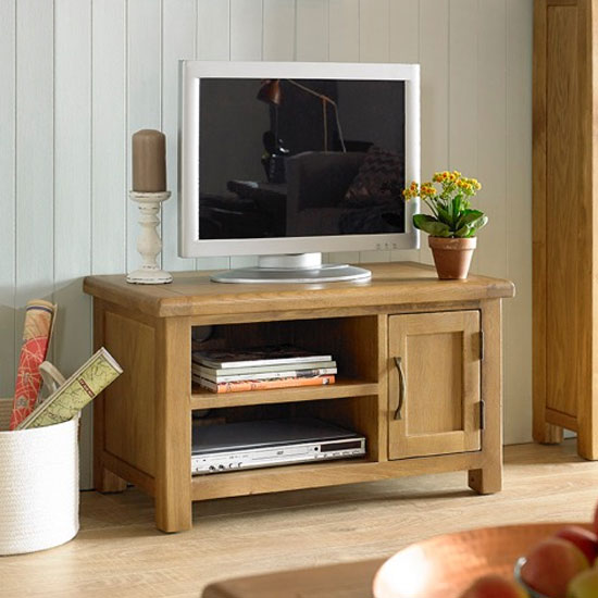 View Earls wooden small tv unit in chunky solid oak