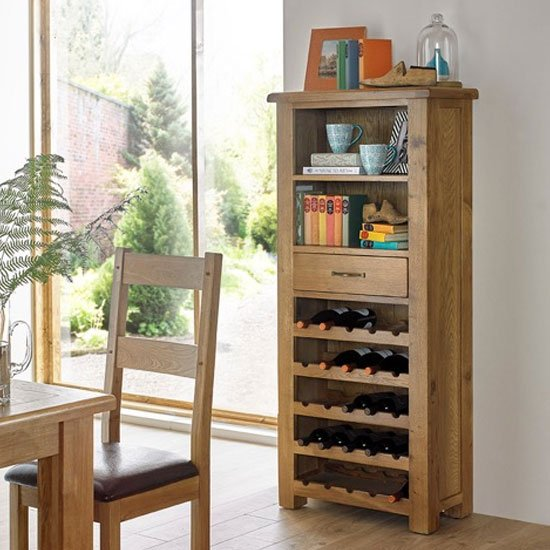 Earls Wooden Tall Wine Rack In Chunky Solid Oak With 1 Drawer