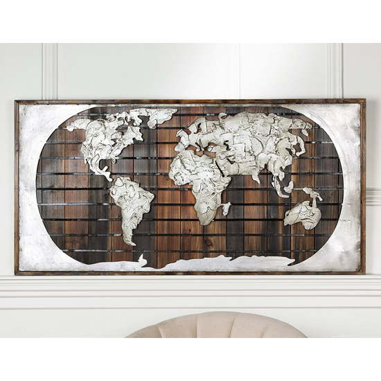 Earth Picture Metal Wall Art In Brown And Silver