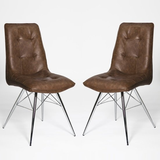 Eason Dining Chair In Antique Brown PU And Chrome Legs In A Pair