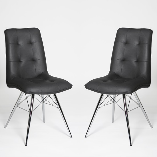 Eason Dining Chair In Grey PU With Chrome Legs In A Pair