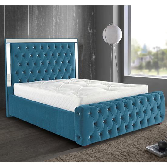 Eastcote Plush Velvet Mirrored Small Double Bed In Teal