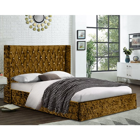 View Eastlake crushed velvet king size bed in mustard