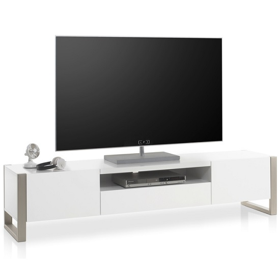 Easton Wooden TV Stand In Matt White With Brushed Steel Frame_2