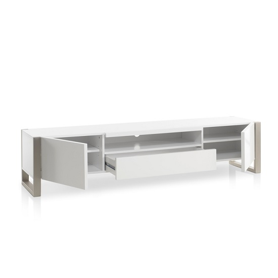 Easton Wooden TV Stand In Matt White With Brushed Steel Frame_3