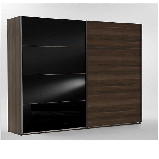 Emission Sliding Wardrobe In French Walnut And Black Glass Doors