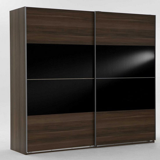 Photo of Emission sliding wardrobe french walnut and black glass inserts