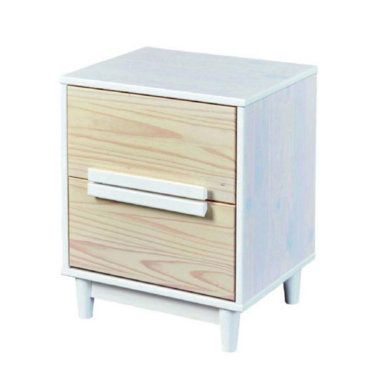 Ebbo FSC Wooden Bedside Cabinet In Urban White With 2 Drawers
