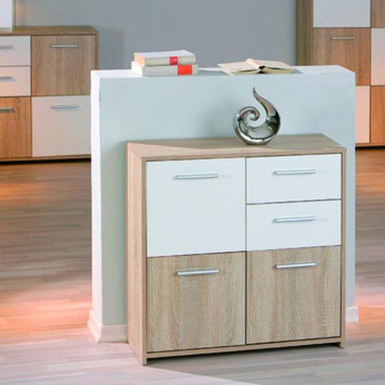 eboli 3 door 2 drawer sideboard in oak and white