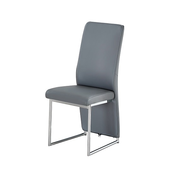 Ebony Dining Chair In Grey Faux Leather With Chrome Base