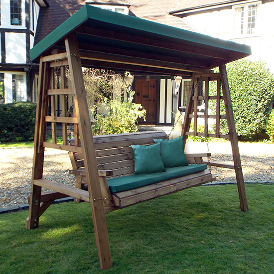 Product photograph showing Ecaso Dorset 3 Seater Swing In Green
