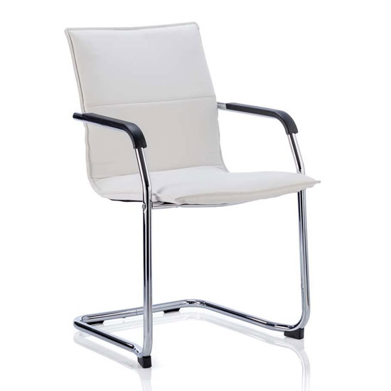 Echo Leather Cantilever Office Visitor Chair In White With Arms